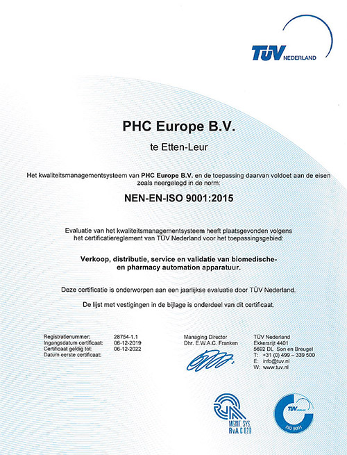 phc europe gecertificeerd-tuv